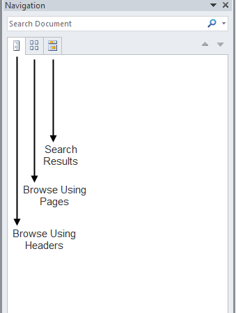 The Navigation Pane in Microsoft Word 2010